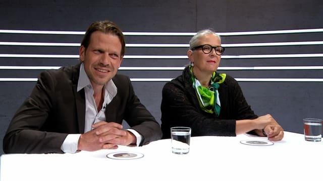 Die Unternehmerin Karin Lenzlinger und der Präsident des Dachverbands Schweizer Männer und Väter Markus Theunert.