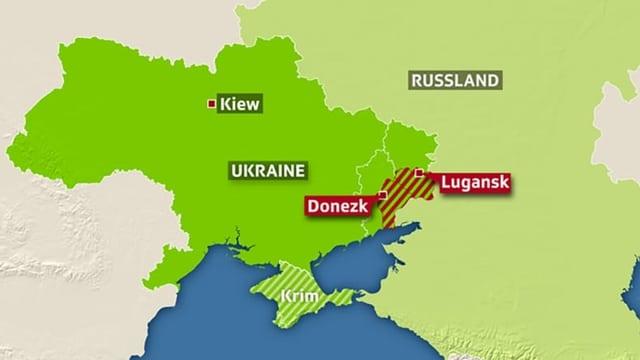 Karte mit Ukraine und Russland, eingezeichnet die Konfliktregionen