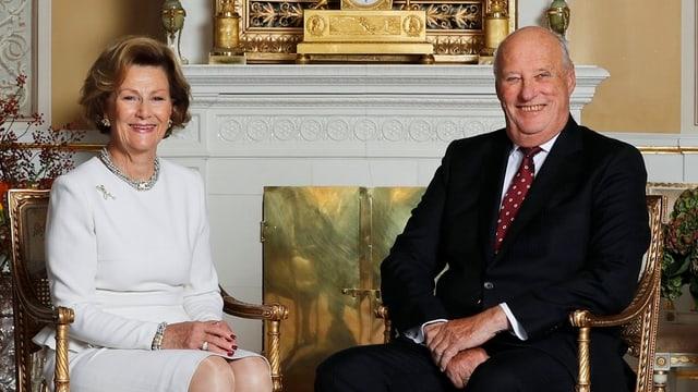 Porträt von Königin Sonja und König Harald