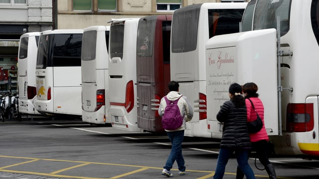 Touristencars füllen den Parkplatz am Löwenplatz.