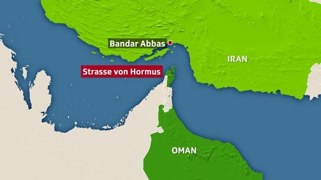 Man sieht eine Karte auf der die Strasse von Hormus und der Hafen von Bandar Abbas eingezeichnet ist.