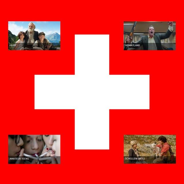 Das Schweizerkreuz, umrandet von vier einheimischen «Heimatfilmen».