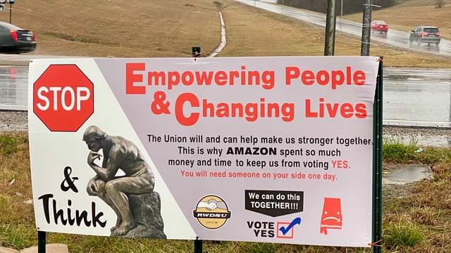 Plakat der Gewerkschaft.