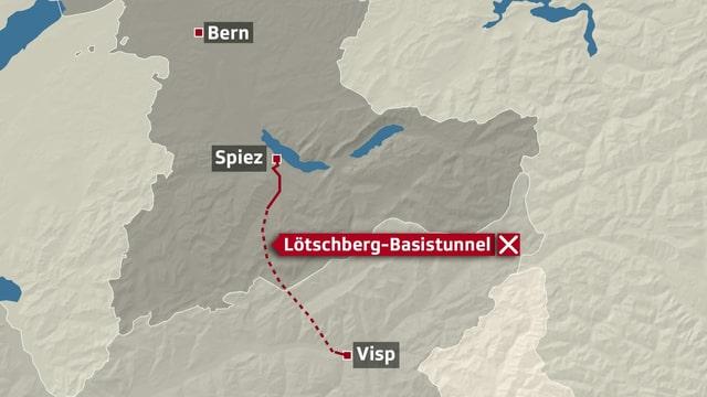 Karte zur Verortung des Basis-Tunnels.