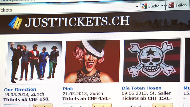 Screenshot von Justtickets.ch