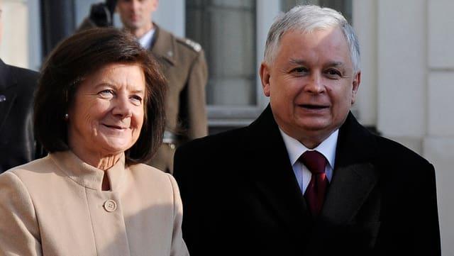 Der verstorbene Staatspräsident Lech Kaczynski mit seiner Ehefrau Maria