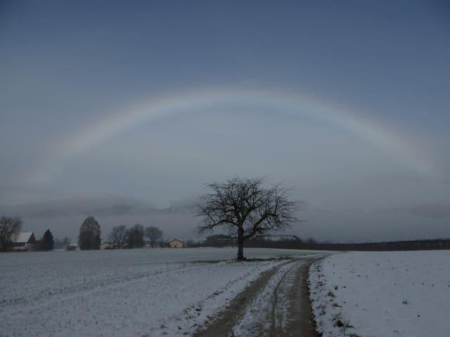 Ein Bogen, fast wie ein Regenbogen aber schwächer.