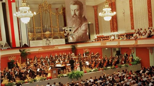 Kongress mit Bild von Herzl