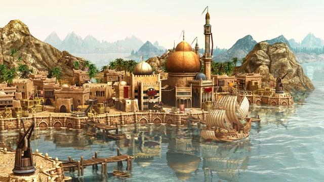 Eine computeranimierte Stadt an einem See, im Hintergrund Berge.