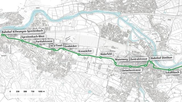 Eine Karte mit der Routenführung der Lummattalbahn