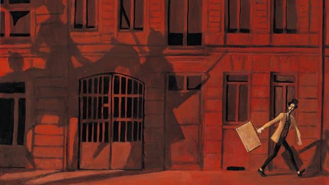 Ein Mann geht einer Hauswand entlang, daran sind Schatten von Menschen und Pferden zu sehen.