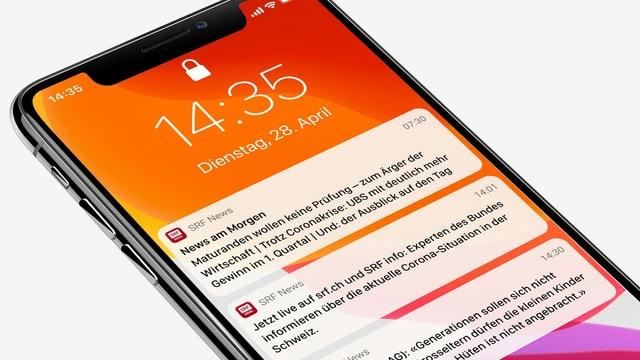 Mobiltelefon-Bildschirm mit Push-Meldungen