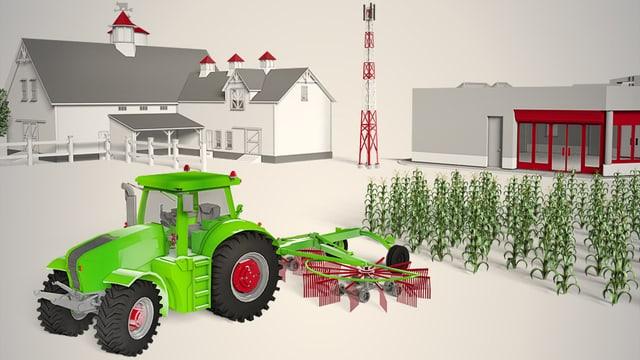 Ein Traktor mit angehängter Maschine steht vor einem Feld.