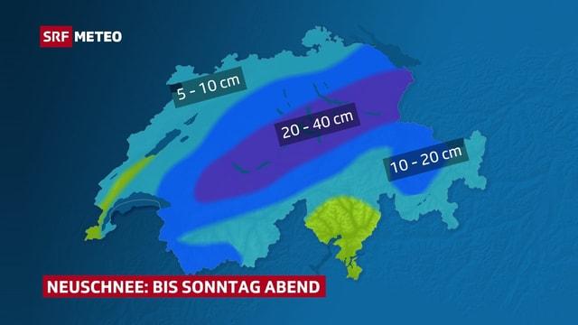Auf der Schweizkarte flächige und färbige Darstellung der zu erwrateten Neuschneesumme bis Sonntagabend