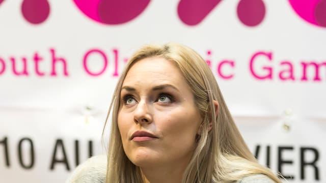 Lindsey Vonn an einer Medienkonferenz