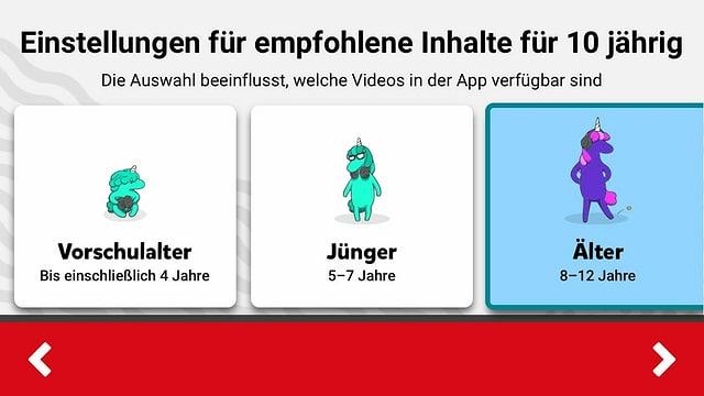 Screenshot Auswahl verschiedener Alterskategorien der Kinder in der YouTube Kids App
