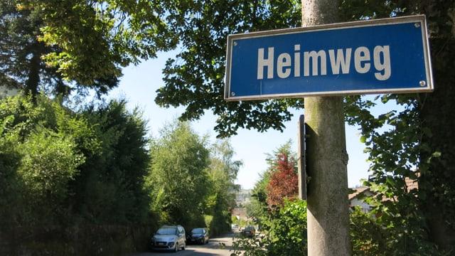 Strassenschild «Heimweg» in Köniz, Strasse gesäumt mit viel Grün.