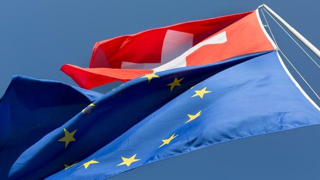 Bandieras da la Svizra e da l'UE.