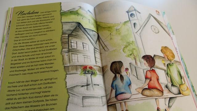 Geöffnetes Buch: Drei Kinder sitzen auf Bank.