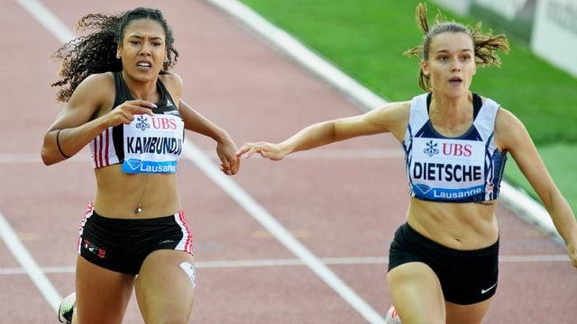 Riccarda Dietsche während einem 100-Meter-Lauf