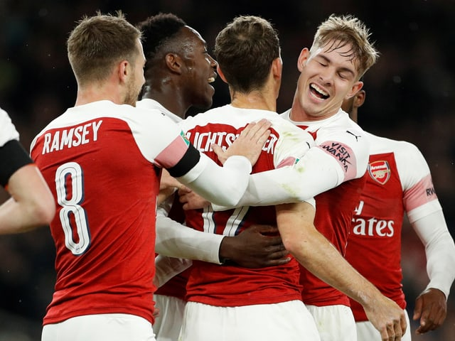 Stephan Lichtsteiner nach seinem 1. Treffer für Arsenal.