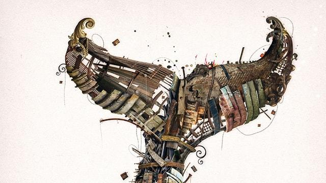 Ein auf dem Kopf stehender Fischschwanz, der aus Schiffteilen zusammengesetzt scheint.