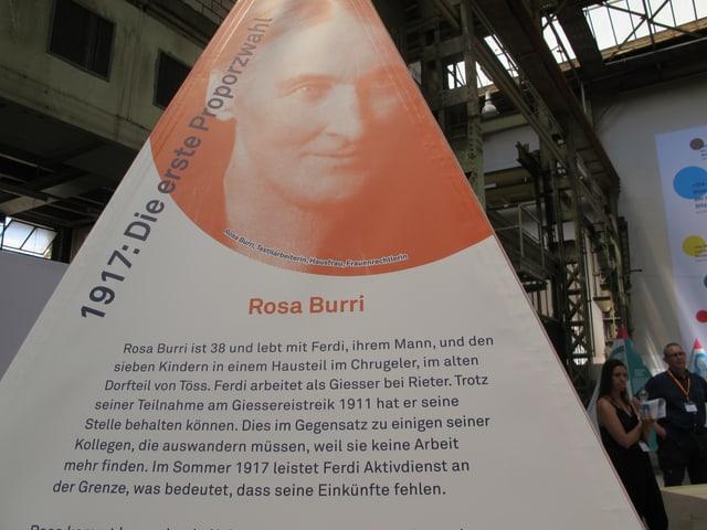 Die Pyramide mit Informationen zur Frauenrechtlerin Rosa Burri
