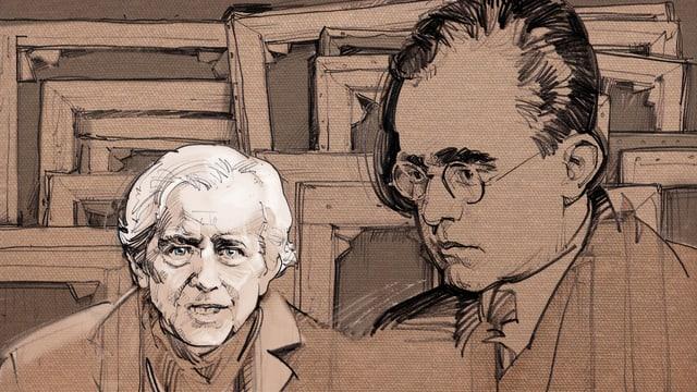 Illustration von Cornelius Gurlitt, daneben sein Vater Hildebrand mit Brille. Im Hintergrund Leinwände von hinten.