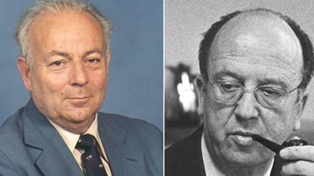 Portraits der Alt-Regierungsräte im Kanton Baselland Paul Manz und Leo Lejeune.