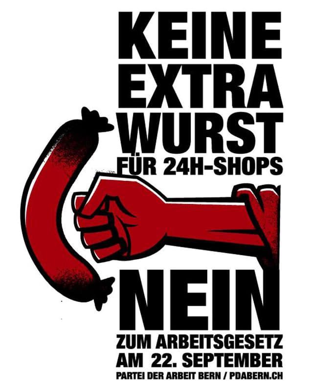 Plakat der Gegner im Abstimmungskampf um längere Öffnungszeiten von Tankstellen-Shops.