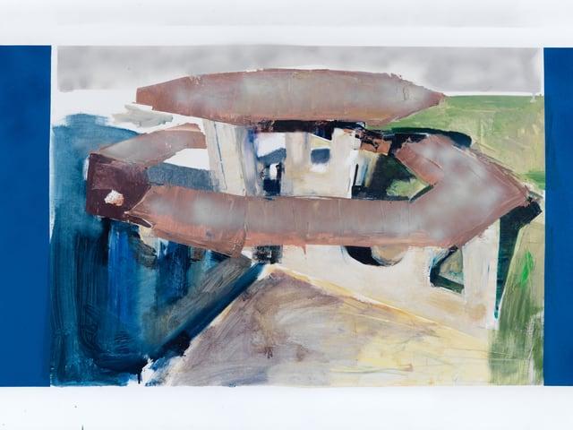 Halbabstraktes Bild, das einen runden Tisch mit einer runden Bank zeigt.