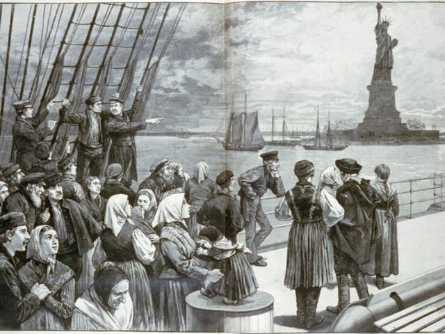 Irische Auswanderer kommen in New York an 1850
