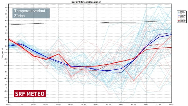 Eine Graphik mit den möglichen Temperaturverläufen für die nächsten 14 Tage.