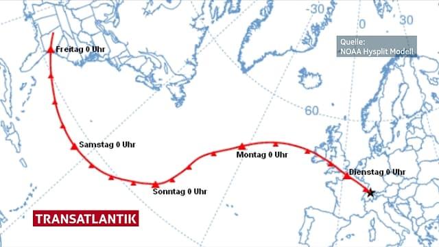 Eine Karte des Nordatlantiks zeigt den Weg, welchen die Luftpakete in den letzten vier Tage zurückgelegt haben.