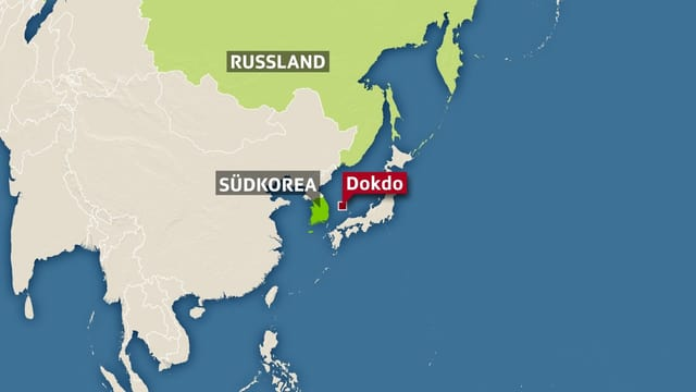 Karte auf der Südkorea und rechts beziehungsweise östlich davon die Insel Dokodo eingezeichnet ist.
