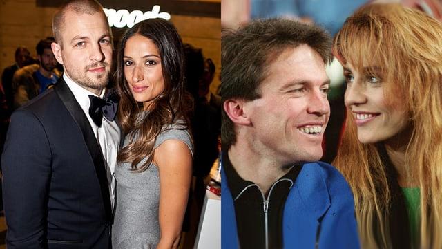 Splittscreen mit Stress im Anzug und Melanie Winiger im grauen Kleid sowie Lothar Matthäus im blauen Anzug und Lolita Morena mit Wuschelmähne.