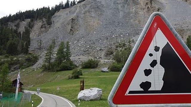Verkehrstafel Achtung Steinschlag.