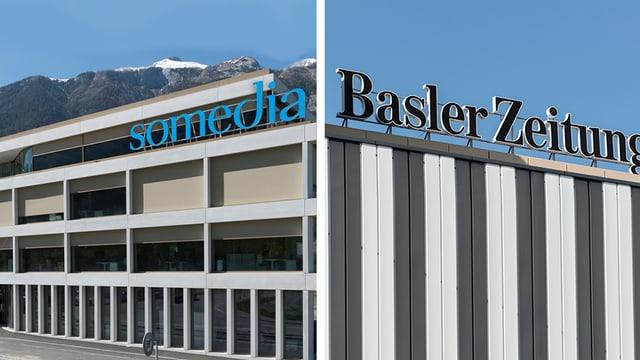 dus bajetgs, a sanestra Somedia, a dretga Basler Zeitung