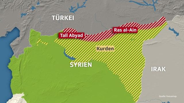Karte von Syriens Norden.