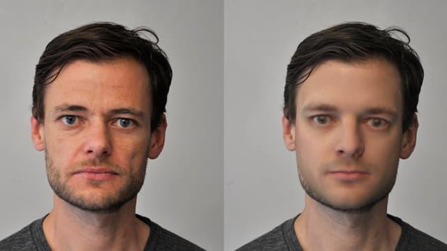 Zwei Porträts derselben Person, links als Fotografie, rechts als vom Computer berechnetes Bild.