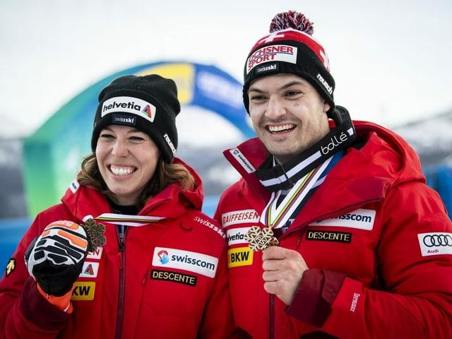 Michelle Gisin und Loïc Meillard
