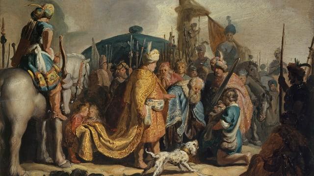 ein Gemälde von einem Mann in orientalischem Gewand und ein Mann, der vor ihm kniet