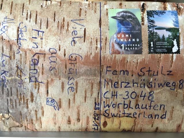 Postkarte aus Birkenrinde.