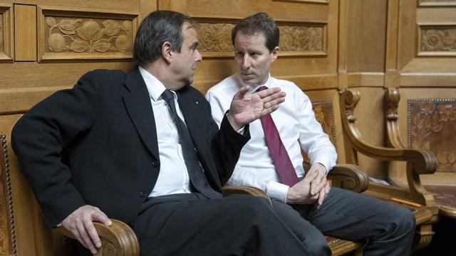 Die beiden Zuger Nationalräte, die wieder antreten: Gerhard Pfister (CVP) und Thomas Aeschi (SVP).