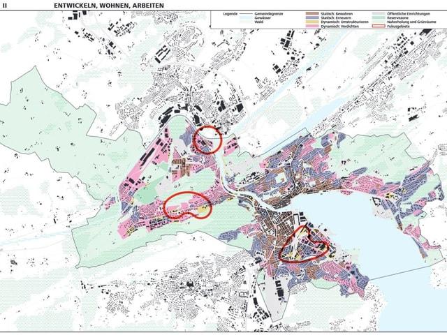 Grafik eines Stadtplanes mit verschieden farbig markierten Zonen