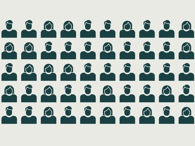 Illustration von 50 Frauen und Männern.