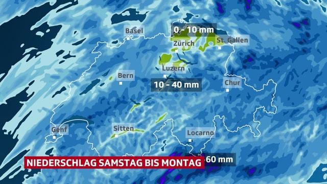 Schweizer Karte, Ostschweiz 0 - 10 mm, Alpen 10 - 40 mm, Süden 40 - 60 mm Regen.