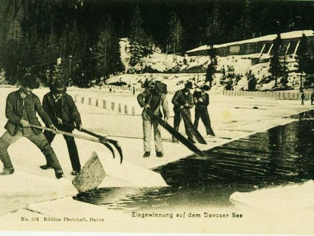 Männer ziehen Ausschollen aus dem See.