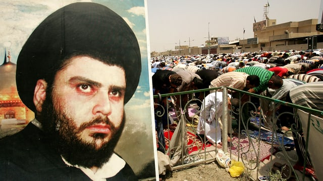 Sadr-Poster, dahinter beten seine Anhänger in Bagdad
