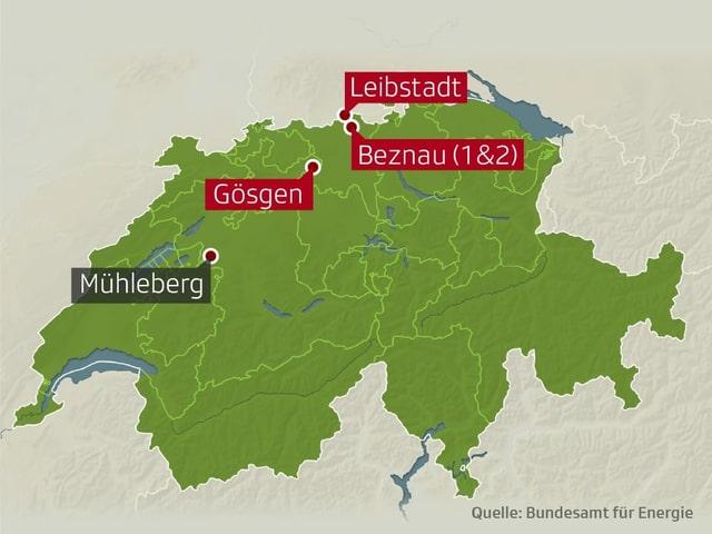 Standorte der vier Kernkraftwerke der Schweiz